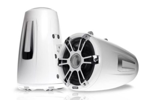 "8.8"" 330 Watt Coaxial Wake Tower Sports White Marine Speakers with LEDs"
